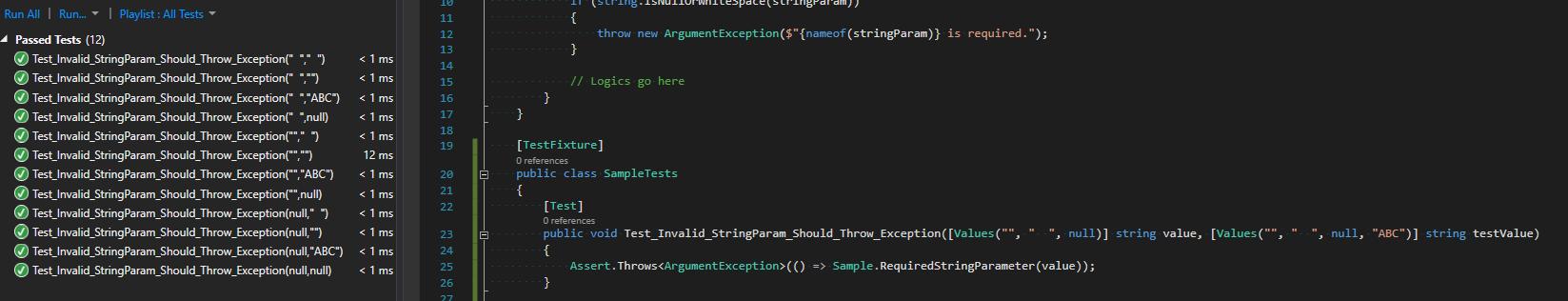 Add multiple test cases for same unit test scenario in NUnit – Just